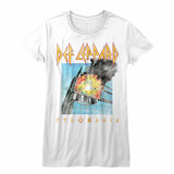 Def Leppard Faded Pyromania White Junior Women's T-Shirt