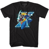 Mega Man X And Zero Black Adult T-Shirt