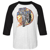 Evel Knievel Checks And Flames White/Black Adult Raglan Baseball T-Shirt