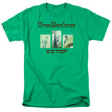 ZZ Top Tres Hombres S/S Adult T-Shirt 18/1 Kelly Green