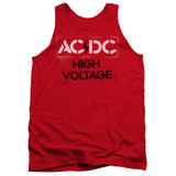 AC/DC High Voltage Stencil Adult Tank Top T-Shirt Red