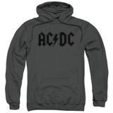 AC/DC Worn Logo Adult Pullover Hoodie Sweatshirt Charcoal