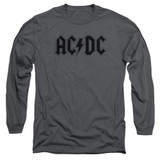 AC/DC Worn Logo Adult Long Sleeve T-Shirt Charcoal