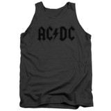 AC/DC Worn Logo Adult Tank Top T-Shirt Charcoal