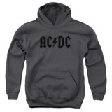 AC/DC Worn Logo Youth Pullover Hoodie Sweatshirt Charcoal