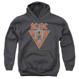AC/DC Flick Of The Switch Youth Pullover Hoodie Sweatshirt Charcoal