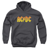 AC/DC Logo Youth Pullover Hoodie Sweatshirt Charcoal