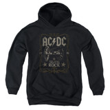AC/DC Rock Label Youth Pullover Hoodie Sweatshirt Black
