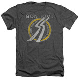 Bon Jovi Slippery When Wet World Tour Adult Heather T-Shirt Charcoal