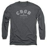 CBGB Tattered Logo Adult Long Sleeve T-Shirt Charcoal