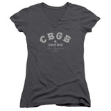 CBGB Tattered Logo Junior Women's V-Neck T-Shirt Charcoal