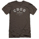 CBGB Tattered Logo Premuim Canvas Adult Slim Fit T-Shirt Charcoal