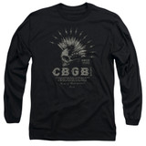 CBGB Electric Skull Adult Long Sleeve T-Shirt Black
