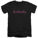 Cinderella Logo Rough Adult V-Neck T-Shirt Black