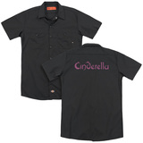Cinderella Logo Rough (Back Print) Adult Work Shirt Black