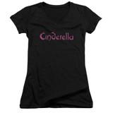Cinderella Logo Rough Junior Women's V-Neck T-Shirt Black