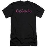 Cinderella Logo Rough Premuim Canvas Adult Slim Fit T-Shirt Black