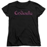 Cinderella Logo Rough Women's T-Shirt Black