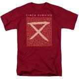 Circa Survive Floral Adult 18/1 T-Shirt Cardinal