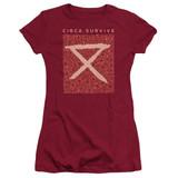 Circa Survive Floral Junior Women's Sheer T-Shirt Cardinal