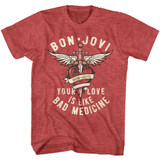Bon Jovi Bad Medicine Red Heather Adult T-Shirt