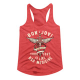Bon Jovi Bad Medicine Red Heather Junior Women's Racerback Tank Top T-Shirt