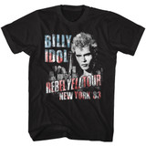 Billy Idol NY '83 Flag-ish Black Adult T-Shirt