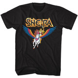 Masters Of The Universe She Ra And Swiftwind Black T-Shirt