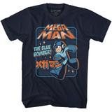 Mega Man Graphic Blu Bomber Navy Adult T-Shirt