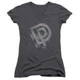 Deep Purple DP Logo Junior Women's V-Neck T-Shirt Charcoal