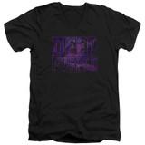 Deep Purple Spacey Adult V-Neck T-Shirt Black