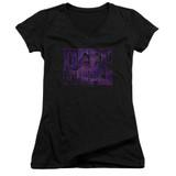 Deep Purple Spacey Junior Women's V-Neck T-Shirt Black