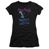 Deep Purple Smokey Water Junior Women's Sheer T-Shirt Black