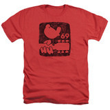 Woodstock Summer 69 Adult T-Shirt Heather Red