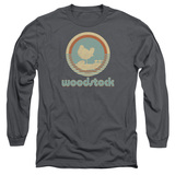 Woodstock Bird Circle Long Sleeve Adult 18/1 T-Shirt Charcoal