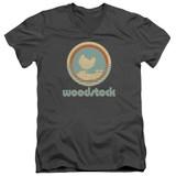 Woodstock Bird Circle S/S Adult V Neck 30/1 T-Shirt Charcoal