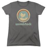 Woodstock Bird Circle S/S Women's T-Shirt Charcoal