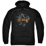 Def Leppard Broken Glass Adult Pullover Hoodie Sweatshirt Black