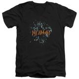Def Leppard Broken Glass Adult V-Neck T-Shirt Black