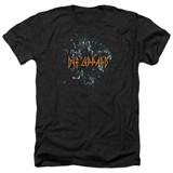 Def Leppard Broken Glass Adult Heather T-Shirt Black