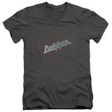 Dokken Breaking The Chains Adult V-Neck T-Shirt Charcoal