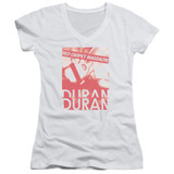 Duran Duran Red Carpet Massacre Junior Women's V-Neck T-Shirt White