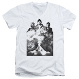 Cypress Hill Monochrome Smoke Adult V-Neck T-Shirt White