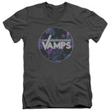 The Vamps Floral Vamps S/S Adult V Neck 30/1 T-Shirt Charcoal