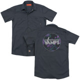 The Vamps Floral Vamps (Back Print) Adult Work Shirt Charcoal