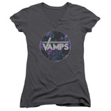 The Vamps Floral Vamps Junior Women's T-Shirt V Neck Charcoal