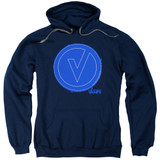 The Vamps Frayed Patch Adult Pullover Hoodie Sweatshirt Navy