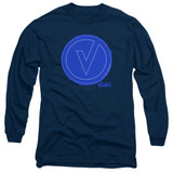 The Vamps Frayed Patch Long Sleeve Adult 18/1 T-Shirt Navy
