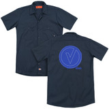 The Vamps Frayed Patch (Back Print) Adult Work Shirt Navy