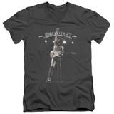 Jeff Beck Guitar God Adult V-Neck T-Shirt Charcoal
